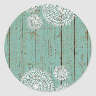 Bois vide de napperon de crochet - emballage sticker rond