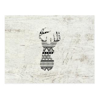Bois vintage blanc de rétro de cerfs communs noir carte postale