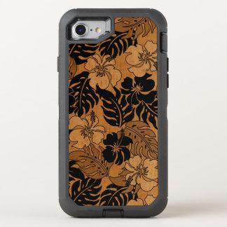 Bois vintage de Faux de ketmie hawaïenne de baie Coque Otterbox Defender Pour iPhone 7