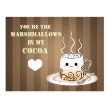 Boisson chaude de cacao de kawaii mignon carte postale