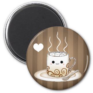 Boisson chaude de cacao de kawaii mignon magnet rond 8 cm