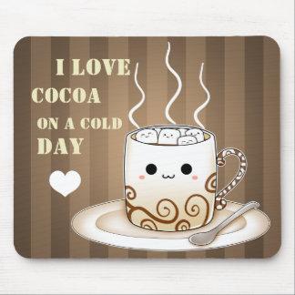 Boisson chaude de cacao de kawaii mignon tapis de souris