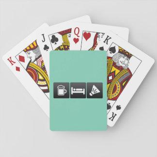 Boisson, sommeil et badminton cartes à jouer