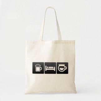 Boisson, sommeil et café préparé sac en toile budget