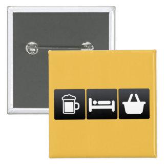 Boisson, sommeil et épicerie badge carré 5 cm
