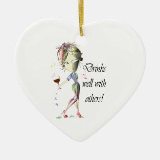Boissons bien avec d'autres, art drôle de vin ornement cœur en céramique