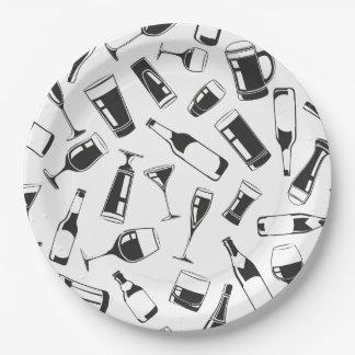 Boissons et verres noirs de motif assiettes en papier