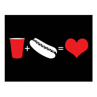 boissons + hot-dogs = amour carte postale