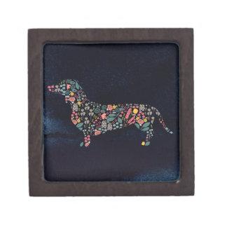 Boîte À Babioles De Première Qualité Art floral d'aquarelle de motif de chien de