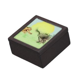 Boîte À Babioles De Première Qualité Boîte-cadeau vert-bleu llustrated colorée - chasse