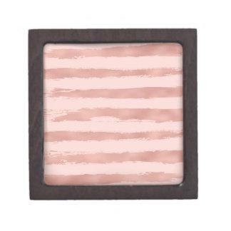 Boîte À Babioles De Première Qualité Rayures peintes à la main métalliques d'or rose