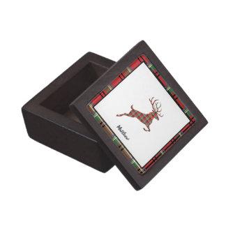 Boîte À Babioles De Première Qualité Renne sur le plaid rouge et vert de Noël de tartan