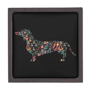 Boîte À Bijoux De Première Qualité Art floral d'aquarelle de motif de chien de
