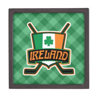 Boîte À Bijoux De Première Qualité Boîte irlandaise de logo de drapeau de hockey sur