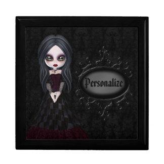 Boîte à bijoux noire personnalisée par fille migno