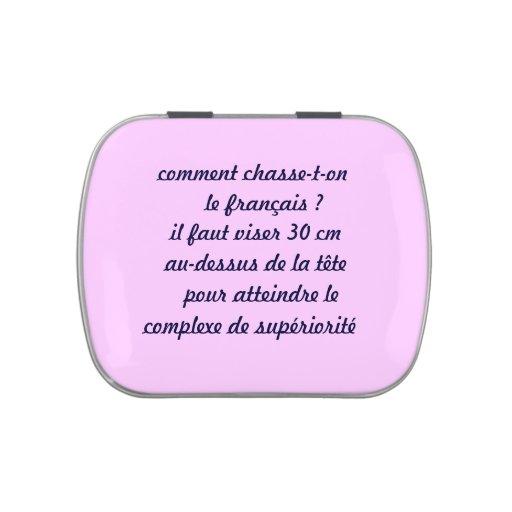 boîte à bonbons, français humour boite jelly belly