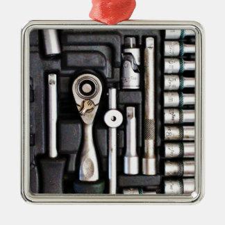 Boîte à outils de travail - copie industrielle ornement carré argenté