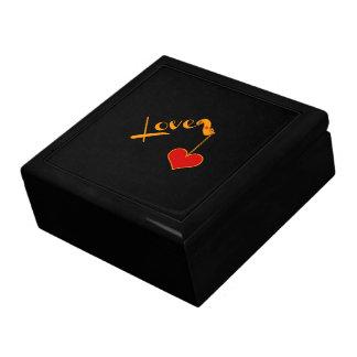 Boîte À Souvenirs Aimez, or sur le noir, avec le coeur rouge