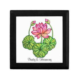 Boîte À Souvenirs Aquarelle Lotus rose avec les bourgeons et le