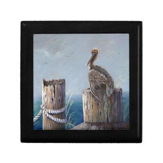 Boîte À Souvenirs Art acrylique d'océan de pélican de Brown de côte