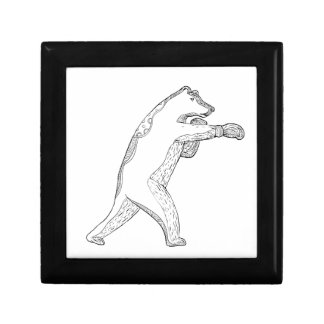 Boîte À Souvenirs Art de boxe de griffonnage d'ours gris