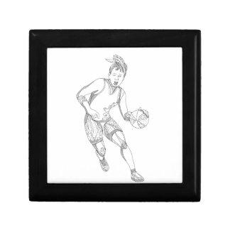 Boîte À Souvenirs Art femelle de griffonnage de joueur de basket
