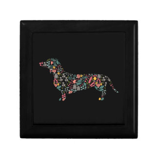 Boîte À Souvenirs Art floral d'aquarelle de motif de chien de