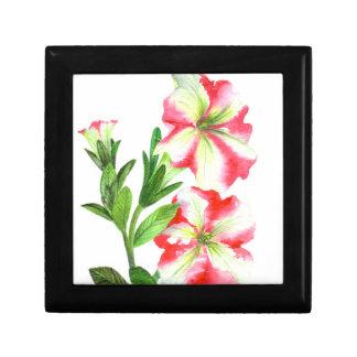 Boîte À Souvenirs Art floral de pétunias roses et blancs