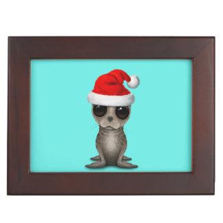Boîte À Souvenirs Bébé phoque utilisant un casquette de Père Noël