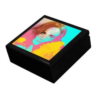 Boîte À Souvenirs Boîte-cadeau abstraite colorée de tuile de dame -