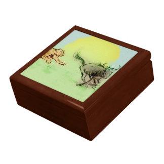 Boîte À Souvenirs Boîte-cadeau colorée de tuile de croquis d'animaux
