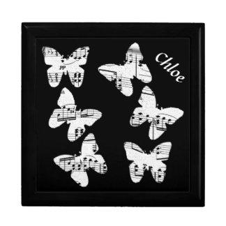 Boîte À Souvenirs Boîte-cadeau de conception de musique de papillon