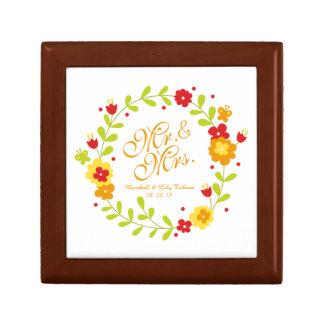 Boîte À Souvenirs Boîte-cadeau de M. et de Mme Elegant Floral