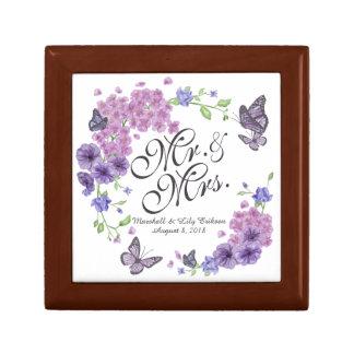 Boîte À Souvenirs Boîte-cadeau florale personnalisée de mariage de