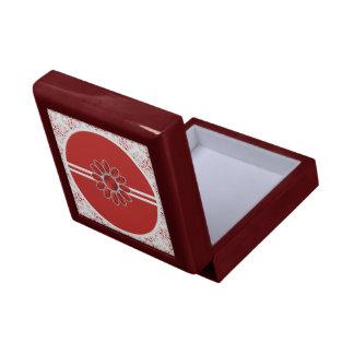 Boîte À Souvenirs Boîte-cadeau rouge d'acajou de mandala de fleur de