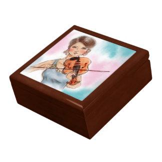 Boîte À Souvenirs Boîte-cadeau vintage colorée de dame - violon