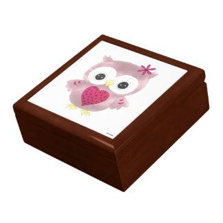 Boîte À Souvenirs Boîte en bois de souvenir de chêne de hibou rose