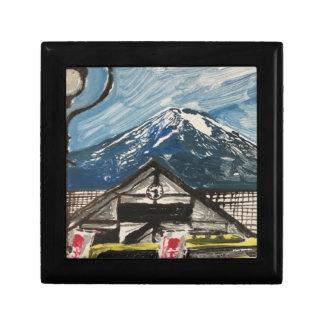 Boîte À Souvenirs Boîte en bois de souvenir de chêne du mont Fuji