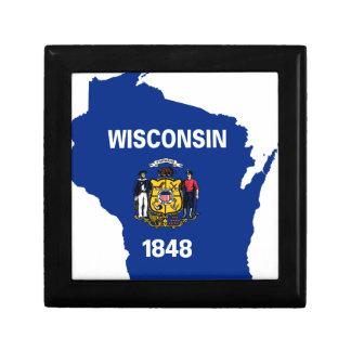 Boîte À Souvenirs Carte de drapeau du Wisconsin