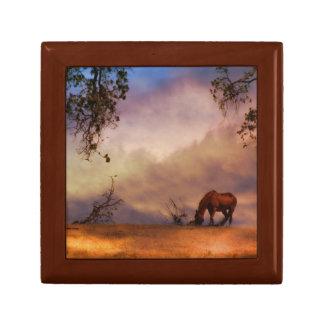 Boîte À Souvenirs Cheval dans la boîte de tuile et en bois de