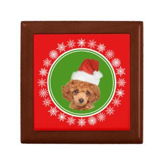 Boîte À Souvenirs Chien mignon de casquette de Père Noël de Noël de