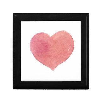 Boîte À Souvenirs Coeur peint par rose d'aquarelle