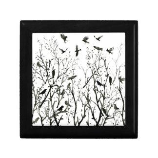 Boîte À Souvenirs Corneilles d'aquarelle en bois au noir de nuit