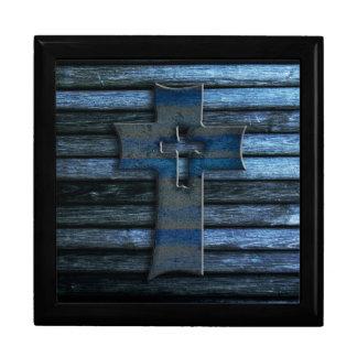 Boîte À Souvenirs Croix en bois bleue