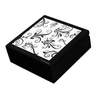 Boîte À Souvenirs Damassé vénitienne, motif de damassé - blanc noir