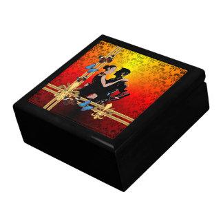 Boîte À Souvenirs Danseurs romantiques de tango sur la damassé