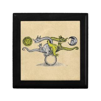 Boîte À Souvenirs Dragons d'or et d'argent de l'alchimie