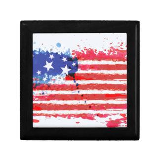 Boîte À Souvenirs drapeau américain grunge d'aquarelle
