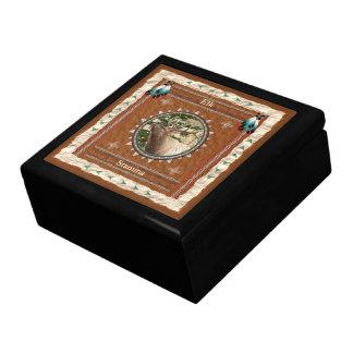 Boîte À Souvenirs Élans - boîte-cadeau en bois de vigueur avec la
