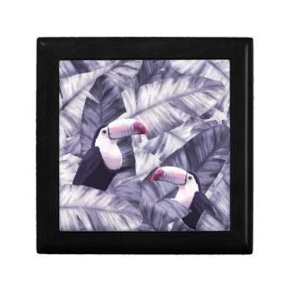 Boîte À Souvenirs Feuille tropical de banane de toucan violet
